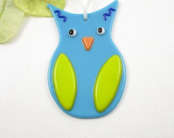 Glass Owl Ornament - Blue Fused Glass Owl Christmas Ornament - Bird Ornament