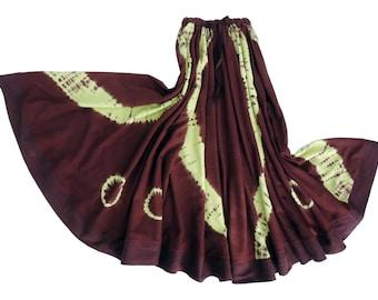 Full Circle Bohemian Silk Skirt Handmade and Dyed with Shibori