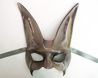 Wolf Fox Dog Leather Mask grey brown black very lightweight yet sturdy
