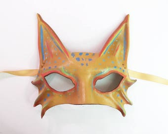 Little Kitty Leather Cat animal Mask in Abstract Fantasy Colors costume masquerade cat art wildcat leopard lynx