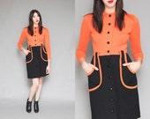 Vintage 60s Mod Orange & Black Mini Dress // Twiggy Button Up Wool Dress - Size Medium