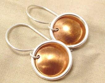 Mixed Metal earrings - Copper earrings - copper silver earrings - modern copper - modern earrings - minimalist earrings - minimalist copper