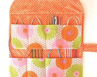 Circular Needle Storage, Makeup Brushes Holder, Crochet Hook Organizer Roll, Paintbrush Case, Gift for Knitters, Orange Floral Knitting Bag