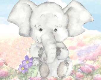 Nursery Elephant Print, Personalized, Elephant painting Elephant gift baby's room Elephant baby gift nursery elephant print digital