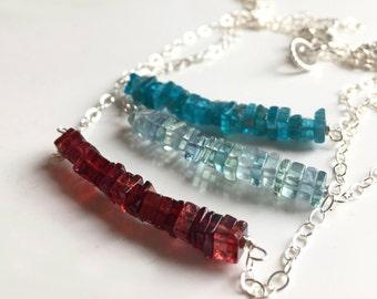 Garnet, fluorite or neon apatite Heishi Bar Necklaces, sterling silver, minimalist necklace, gemstone necklace