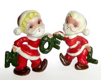 Vintage Christmas Santa Claus NOEL Salt and Pepper Shakers - Santa's Elves Pixie Elves NOEL Christmas Collectible / Tilso Tags