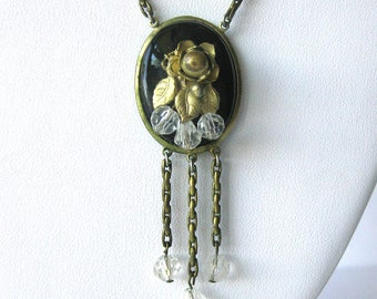 Czech Glass Victorian Pendant Necklace with Gold Flowers and Dangling Clear Beads / Black Glass Medallion Link Chain