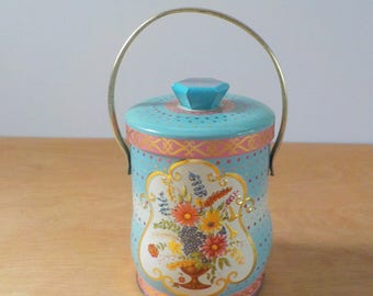 Vintage Candy Tin • Murray Allen Made in England • Blue, Pink and Gold with Handle • Floral