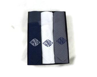 Monogrammed Handkerchiefs Assorted Solids Set of 3