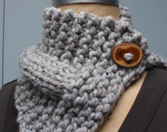 Hand Knit Button Up Neck Cozy Scarf with Handmade Wood Button in Gray