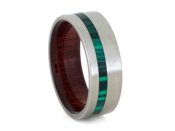 malachite ring wood wedding band handmade titanium ring with