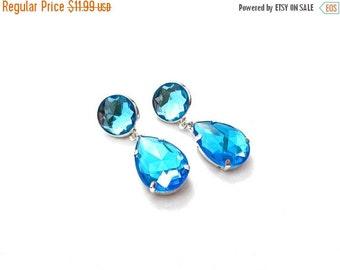 CYBER WEEK SALE Aqua Blue Acrylic Rhinestone Drop Earrings, Simple Teal Acrylic Rhinestone Earrings, Blue AcrylicRhinestone Dangle Earrings
