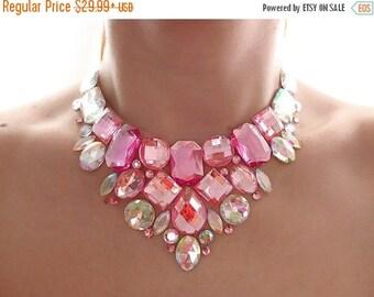 ON SALE Pastel Pink Rhinestone Bib Necklace, Light Pink Rhinestone Statement Necklace, Elegant Pink Bib Necklace, Light Pink Bridesmaid Neck