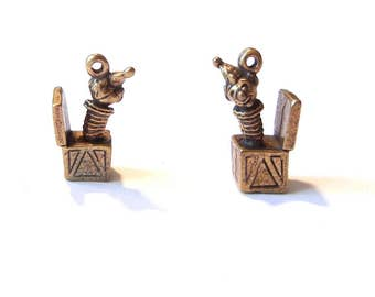 Pair of Dimensional Pewter Jack-in-the-Box Charms Burnished Gold-tone