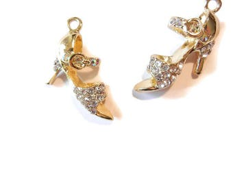 Pair of Gold-tone High Heel Straps with Rhinestones Charms