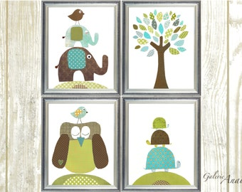 Boy Nursery Decor Blue green brown Nursery wall art baby art children art owl tree birds elephant turtle Set of four prints GalerieAnais