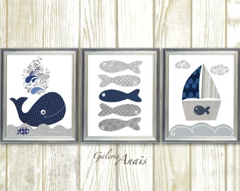 Boy Nursery Decor Nautical nursery art whale nursery wall art Boat fish gray navy blue ocean sea bathroom art - Set of three prints