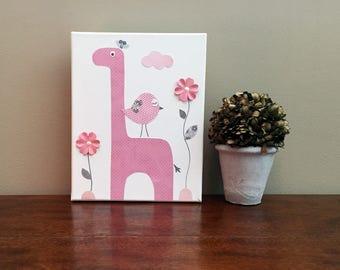 Giraffe Nursery Canvas Art Animal Nursery Decor Bird Nursery Art Canvas Wall Art Baby Girl Room  - Canvas 8x10 in