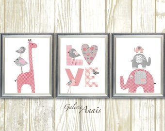 Baby Girl Nursery decor Gray Pink nursery art For Kids Giraffe nursery wall art elephant Children's Art Birds Love - Set of three prints