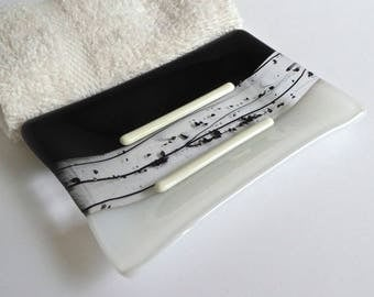 Fused Glass Soap Dish in Black and White by BPRDesigns