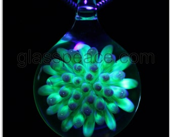 Blown Glass Pendant UV blacklight reactive dot implosion Glass Peace lampwork jewelry (6505)