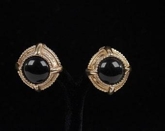 Authentic OSCAR DE LA renta vintage goldenclip on earrings round black cabochon