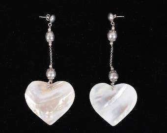 VINTAGE Italian Silver MOTHER OF pearl heart dangle earrings