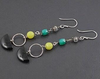 ON SALE---Shoulder Duster Earrings, sterling silver, long dangle earrings, boho earrings, black onyx, olive jade, green onyx, labradorite