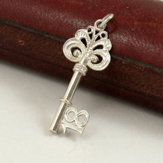Vintage Sterling Silver 18 Key Charm Pendant, 18th Birthday Key