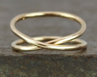 Solid Gold Infinity Ring, 14K Yellow Recycled Gold Hand Forged Ring, Unique, Sea Babe Jewelry