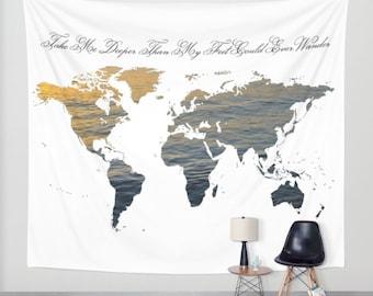 World Map Wall Tapestry, Map Large Size Wall Art, Modern Decor, Outdoor, Garden, Beach Hut Decor, Sea World Tapestry, Water Map tapestry