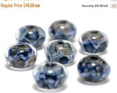ON SALE 35% OFF On Sale 50 Percent Off Seven Soft Blueberry Rondelle Beads - Handmade Glass Lampwork Bead Set 10410601