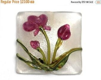 ON SALE 35% OFF Fuchsia Flower Pillow Focal Bead - Handmade Glass Lampwork Bead 11832004