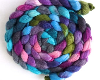 Polwarth/Silk 60/40 Roving - Handpainted Spinning or Felting Fiber, Blooming Treasures