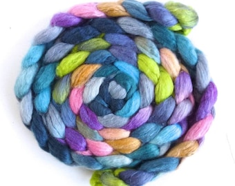 Blueface Leicester/ Tussah Silk Roving (Top) - Handpainted Spinning or Felting Fiber,  Storm Cloud Over Flowers