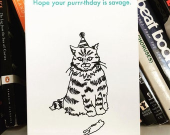 Happy Birthday Card - Savage Purrrthday - Cat Lovers Birthday Card