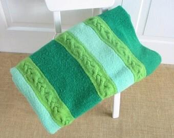 Vintage Green Blue Afghan, Vintage Blanket, Large Afghan, Blue Green Blanket, Vintage Afghan, Striped Afghan Blanket, Wool Blanket Afghan