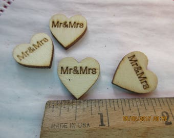 Rustic Hearts,Wedding Decor, Mr and Mrs, Wooden hearts, Confetti,On Favors