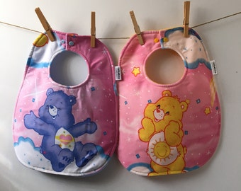 Care Bears Baby Gift - Funshine Bear - Day Dream Bear - Care Bears Baby Shower - Upcycled Bib from Vintage Sheets - 80s Baby Gift