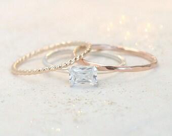 stacking ring set. mixed metal stacking rings. cz diamond ring. SILVER, yellow GOLD and ROSE gold rings. minimalist rings. boho ring set.