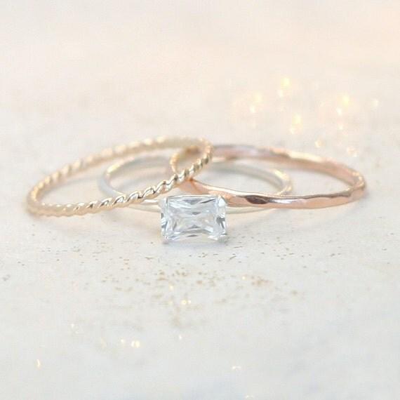 stacking ring set mixed metal stacking rings cz diamond
