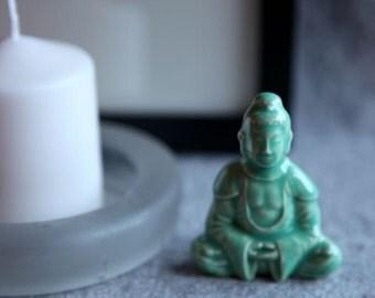 Ceramic Buddha in Stoneware with Mint Green Glaze