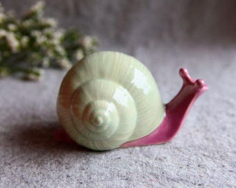 Stoneware Snail in mint green and coral pink Garden Sculpture (medium)