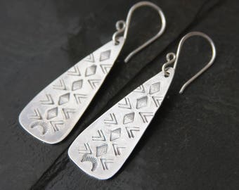 stamped sterling silver elongated triangle earrings