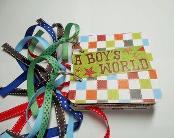 Boy's Mini Scrapbook Album, Boys Mini Album, Boys and Toys Album, Boys photo Album, Boys Brag Book, Boys Scrapbook, Chipboard Album