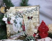 Wall Hanging Christmas Wonder Vintage Inspired Mixedmedia Art Canvas Collage