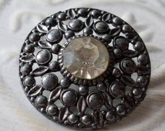 Vintage Button -1 extra large  beautiful and open work flower design, clear  center rhinestone antique silver/ pewter metal  (apr 24 17)