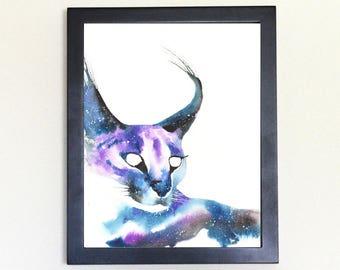 Caracal Cat Galaxy Spirit Totem Animal Art Print Watercolor 8x10