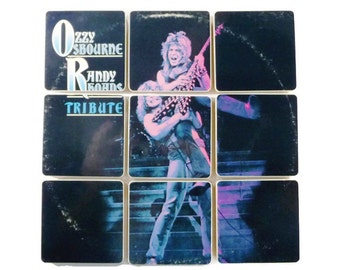 OZZY OSBOURNE recycled Randy Rhoads Tribute album cover handcrafted wood coaster gift set