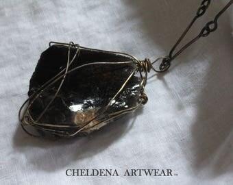 Stunning Black Onyx Necklace, Handmade Jewelry, Handmade OX Brass Chain, Art Jewelry, OOAK Necklace, Gemstone Necklace, Cheldena ArtWear